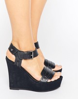 G Star G-Star Claro Navy Leather Wedge Sandals