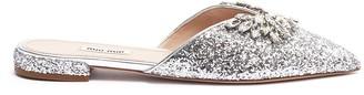 Miu Miu Jewelled buckle coarse glitter slides