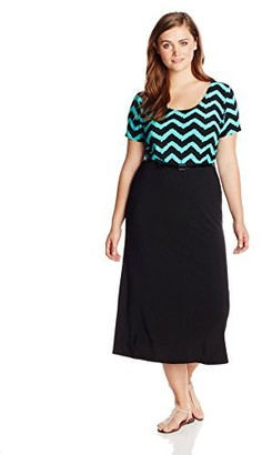 Star Vixen Women's Plus-Size Short Sleeve Zig Zag Top-Print Skirt Belted Skater Maxi Dress