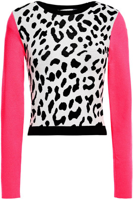 Alice + Olivia Leopard-print Jacquard-knit Sweater