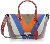 Valentino Striped Suede and Leather Demilune Small Double Handle Bag