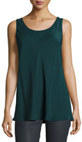 Lafayette 148 New York Portman Sleeveless Silk Blouse, Petrol