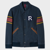 Paul Smith Men's Washed Navy Cotton Red Ear Varsity Jacket