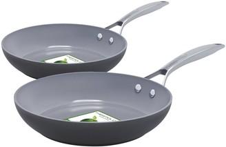 "Green Pan Paris Pro 10"" & 12"" Ceramic Nonstick Fry Pan Set"