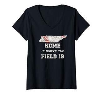 Womens Tennessee Baseball State Map Baseball Game Lover V-Neck T-Shirt