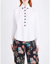 Etro Embellished-button cotton-poplin shirt