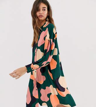 Monki camo print oversized mini shirt dress in green-Multi