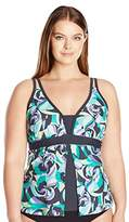 Free Country Women's Plus Size Tropical Slice Fly Away Tankini Top