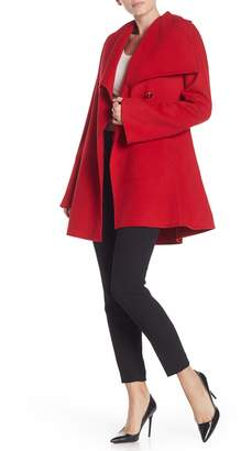 Laundry by Shelli Segal One Button Shawl Collar Wool Blend Coat
