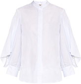 ADAM by Adam Lippes Stand-collar cotton and linen-blend blouse