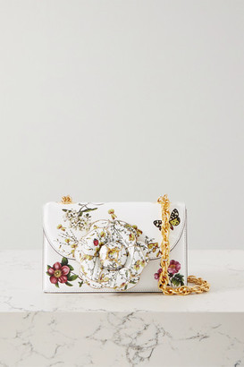 Oscar de la Renta Alibi Printed Textured-leather Shoulder Bag - Ecru
