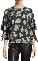 Collective Concepts Tie-Cuff Floral-Print Blouse