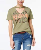 Freeze 24-7 Juniors' Cotton Def Leppard O-Ring Choker T-Shirt