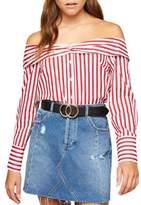 Miss Selfridge Off-the-Shoulder Cotton Button-Down Shirt