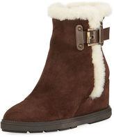Aquatalia Caitlyn Fur-Trim Wedge Boot