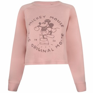 Disney Women's The Original Mouse Cropped Crew Pullover Sweater
