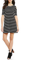Sugar Lips Sugarlips Scoop Neck Short Sleeve Cold-Shoulder Striped A-Line Dress