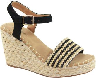 Bella Marie Women's Sandals BLACK - Black Stripe Ankle-Strap Wedge Espadrille - Women