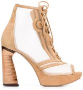 Nicholas Kirkwood 105mm 'Phoenix' lace-up booties - women - Leather/Suede/Nylon - 36