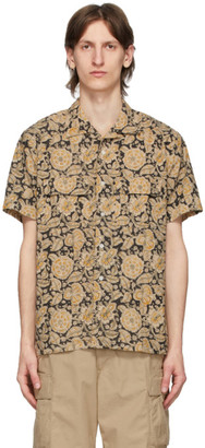 Beams Brown Open Collar Block Print Shirt