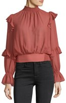 Frame High-Neck Long-Sleeves Ruffled Smocked Chiffon Top