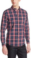 Dockers Long Sleeve Button Down Collar Cotton Chambray Plaid Shirt