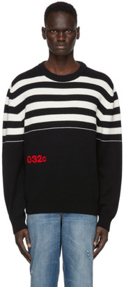 032c Black Merino Stripe Logo Sweater