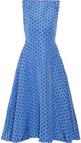 Lela Rose Flocked Silk-faille Midi Dress - Blue