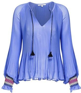 Derek Lam 10 Crosby Helena Pleated Puff-Sleeve Tie-Neck Blouse