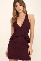 Adelyn Rae Who's That Girl Burgundy Lace Peplum Dress