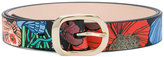 Paul Smith floral print belt - women - Leather/Brass - 75