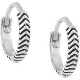 Laundry by Shelli Segal Silvertone Chevron Huggie Hoop Earrings