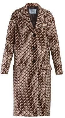 Prada Geometric Jacquard Single Breasted Coat - Womens - Brown Multi