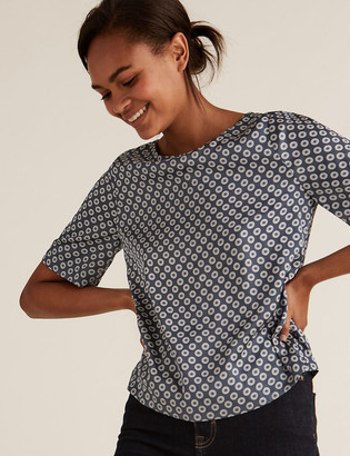Marks and Spencer Satin Woven Geometric Short Sleeve Blouse