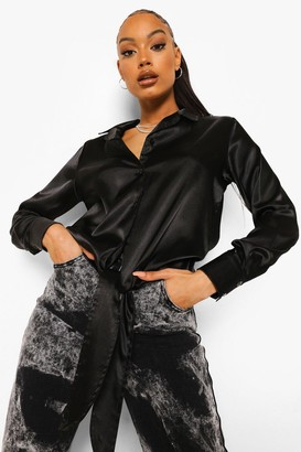 boohoo Relaxed Fit Knot Front Satin Shirt