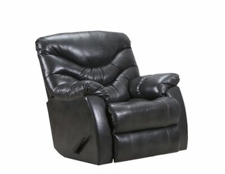 Alecio Manual Swivel Recliner Lane Furniture Fabric: Genuine Leather Charcoal, Motion Type: Glider