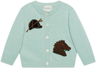 Gucci Baby wool cardigan with horse patch