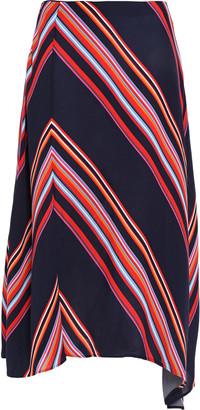 Tory Burch Brynn Asymmetric Striped Crepe Midi Skirt