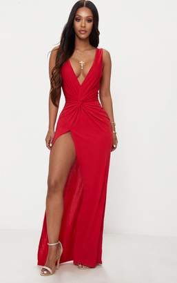 PrettyLittleThing Shape Red Slinky Wrap Detail Maxi Dress