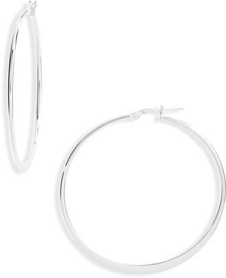 Argentovivo Large Flat Hoop Earrings