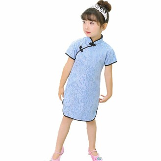 Hooyi Lace Baby Girls Slim Dress Young Woman Wedding Dresses Chinese Qipao Cheongsam (Blue S(6))