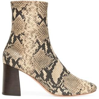 Loeffler Randall Elyse Snakeskin-Embossed Leather Ankle Boots