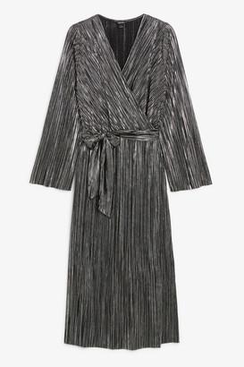 Monki Plisse wrap dress
