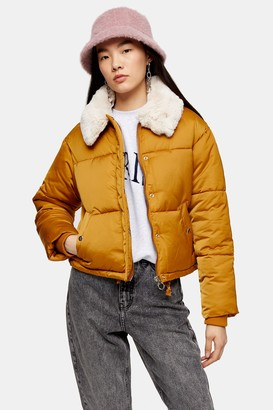 Topshop Mustard Padded Puffer Jacket With Faux Fur Collar