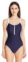Nautica Women's Signature Soft Half-Zip One-Piece Swimsuit
