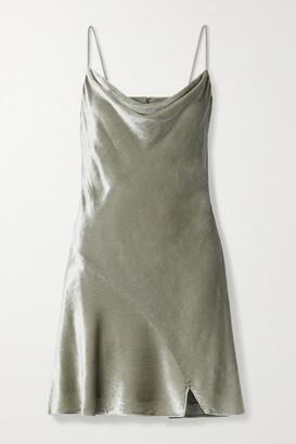 Alice + Olivia Carmelina Draped Velvet Mini Dress - Silver
