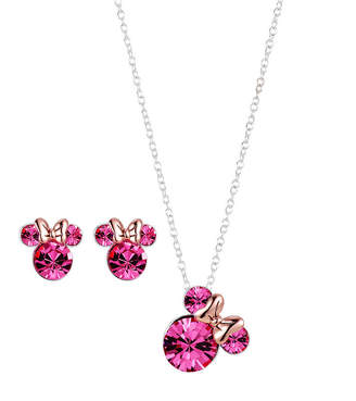 DISNEY CLASSICS 3-pc. Pink Crystal Minnie Mouse Jewelry Set