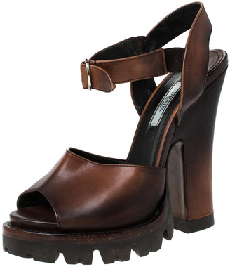 Prada Brown Leather Platform Ankle Strap Sandals Size 37