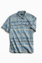 Urban Outfitters Denim Blanket Stripe Short Sleeve Button-Down Shirt