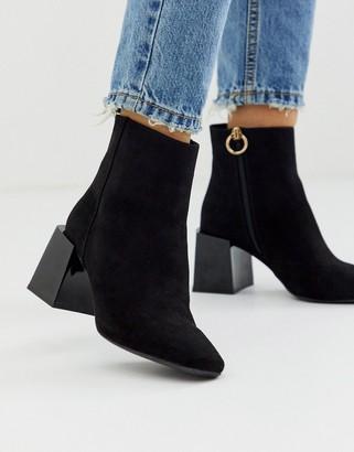 Asos Design DESIGN Reed heeled ankle boots in black